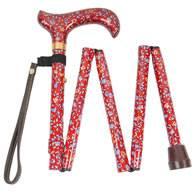 Canne pliante format sac à mains, à motif floral rouge